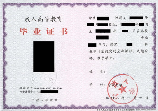 宁波大学毕业证书